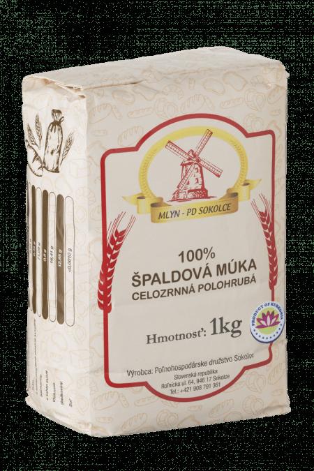 100% ŠPALDOVÁ MÚKA CELOZRNNÁ POLOHRUBÁ / 1 KG