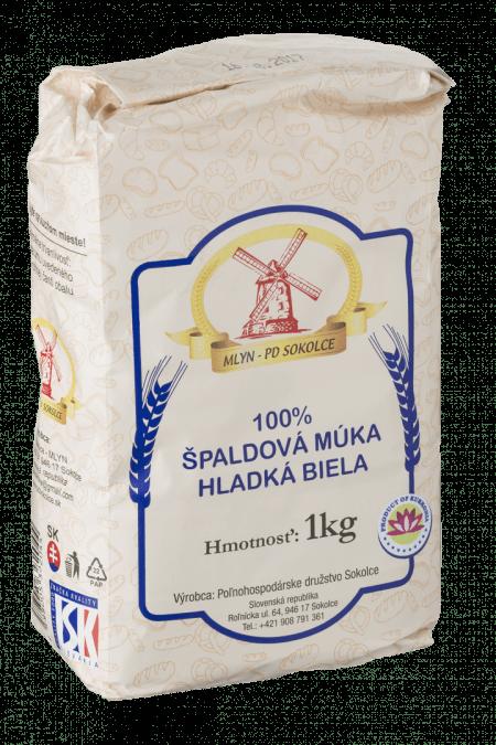 100% ŠPALDOVÁ MÚKA HLADKÁ BIELA / 1 KG